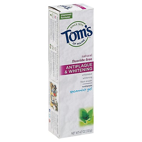 Toms Of Maine Toothpaste Antiplaque & Whitening Spearmint Gel - 4.7 Oz