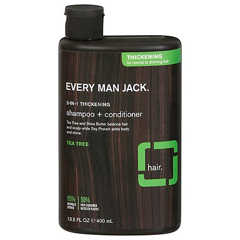 Every Man Jack Shampoo + Conditioner 2-in-1 Thickening Tea Tree - - 13.5 Oz