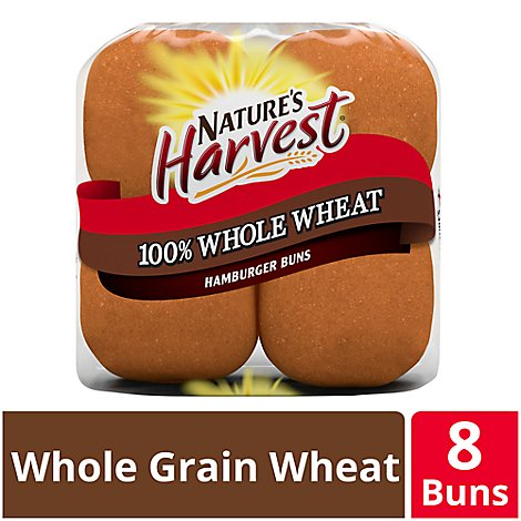 Natures Harvest Hamburger Buns 100% Whole Wheat 8 Count - 16 Oz
