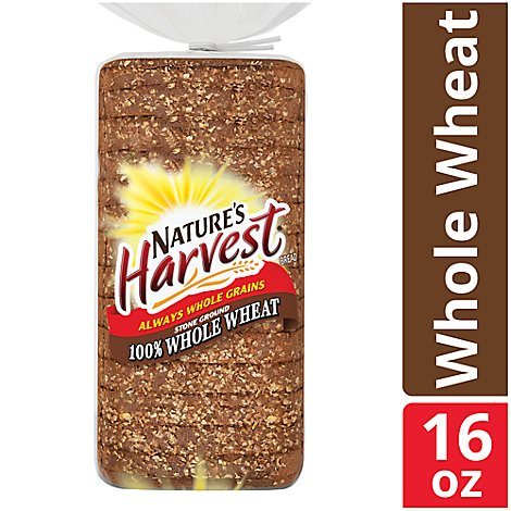 Natures Harvest Bread Stone Ground 100% Whole Wheat - 16 Oz