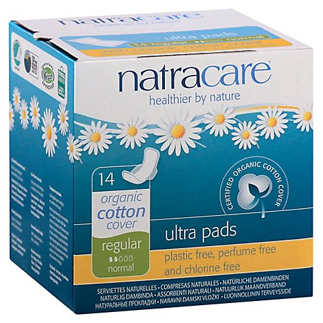 Natracare Ultra Pads Natural Regular Normal - 14 ea