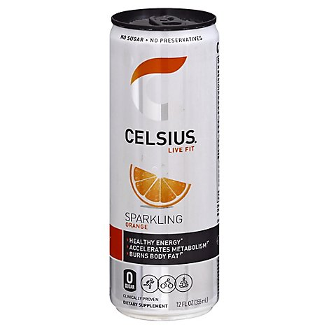 Celsius Calorie Reducing Drink Orange - 12 Oz