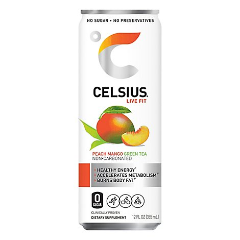 Celsius Calorie Reducing Drink Green Tea Peach Mango - 12 Oz