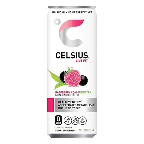 Celsius Calorie Reducing Drink Raspberry Acai Green Tea - 12 Oz