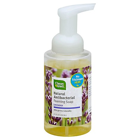 CleanWell Handsoap Foaming All-Natural Antibacterial Lavender - 9.5 Fl. Oz.