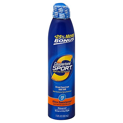 Coppertone Sport C-Spray SPF 15 Bonus 25% - 7.5 Fl. Oz.