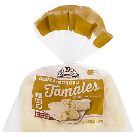 Del Real Tamales Cheese & Green Chiles 6 Count - 24 Oz