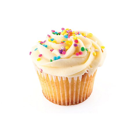 Bakery Cupcake Mini White With Vanilla Icing - Each