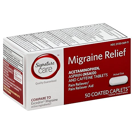 Signature Care Migraine Relief Acetaminophen Aspirin Pain Reliever Coated Caplet - 50 Count