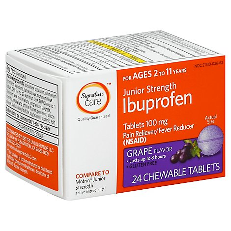 Signature Care Ibuprofen Childrens Strength Chewable Tablet Grape 100mg - 24 Count