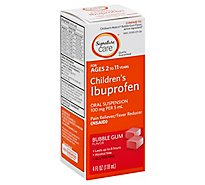 Signature Care Ibuprofen Childrens 100mg PER 5ml Bubble Gum Oral Suspension - 4 Fl. Oz.