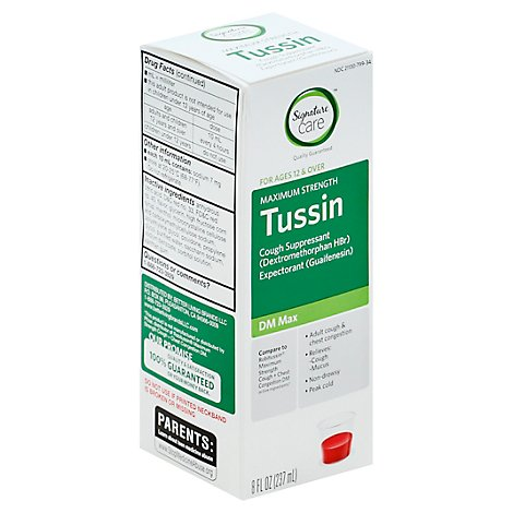Signature Care Tussin Cough Suppressant Non Drowsy DM Max Ages 12 & Over Raspberry - 8 Fl. Oz.