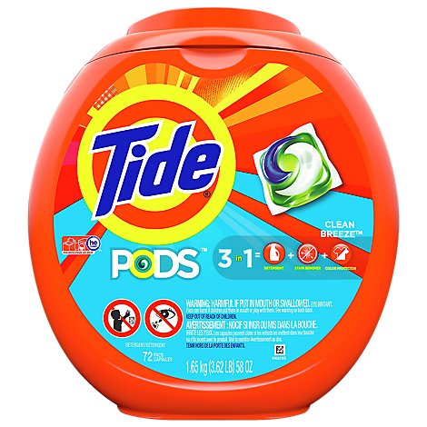 Tide PODS Detergent Pacs Clean Breeze - 72 Count