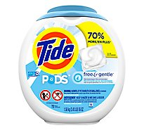 Tide PODS Liquid Laundry Detergent Pacs Free & Gentle - 72 Count