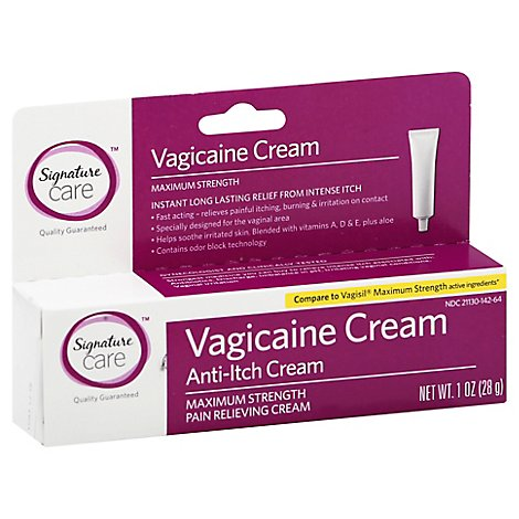Signature Care Vagicaine Cream Anti Itch Pain Relieving Maximum Strength - 1 Oz