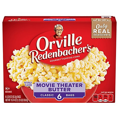 Orville Redenbachers Popping Corn Gourmet Movie Theater Butter - 6-3.29 Oz