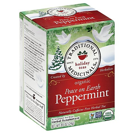 Traditional Medicinals Herbal Tea Organic Holiday Teas Peace on Earth Peppermint - 16 Count