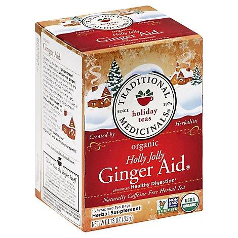 Traditional Medicinals Herbal Tea Organic Holiday Teas Holly Jolly Ginger Aid - 16 Count