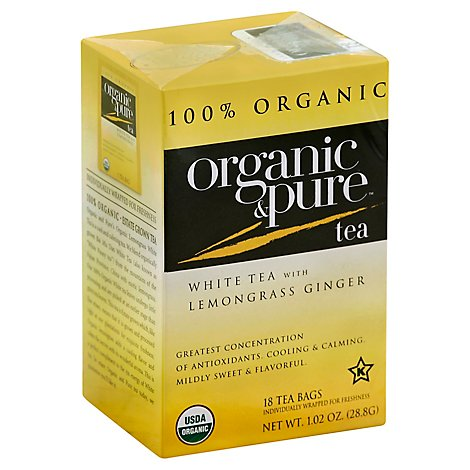 Organic & Pure White Tea Organic with Lemongrass Ginger 18 Count - 1.02 Oz