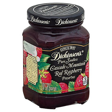 Dickinsons Preserves Pure Seedless Cascade Mountain Red Raspberry - 10 Oz