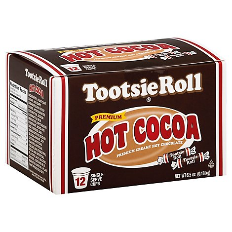 Tootosie Roll Cocoa Hot Single Serve Cups Premium Creamy Hot Chocolate 12 Count - 6.5 Oz