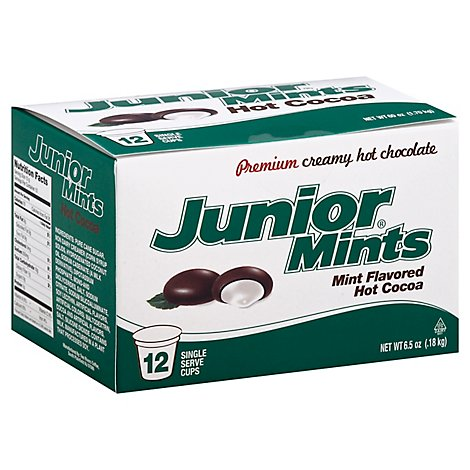 Junior Mints Cocoa Hot Single Serve Premium Creamy Hot Chocolate Mint Flavored 12 Count - 6.5 Oz
