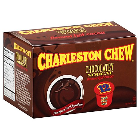 Charleston Chew Cocoa Hot Single Serve Cups Chocolatey Nougat Flavored - 12 Count