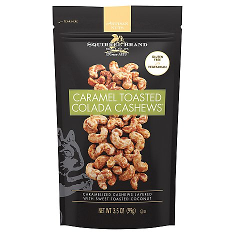 Squirrel Brand Artisan Nuts Cashews Colada Caramel Toasted - 3.5 Oz