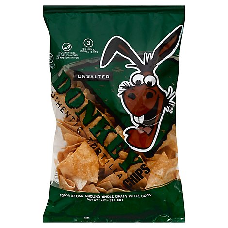 Donkey Chips Tortilla Authentic Unsalted - 14 Oz
