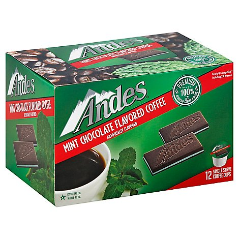 Andes Coffee Mint Chocolate Flavored Single Serve Coffee Cups - 12 Count
