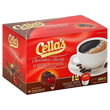 Cellas Coffee Single Serve Cups Chocolate Cherry Flavored - 12 Count