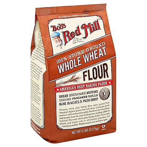 Bobs Red Mill Flour Whole Wheat 100% Stone Ground - 5 Lb