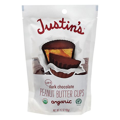 Justins Peanut Butter Cups Organic Dark Chocolate Mini - 4.7 Oz
