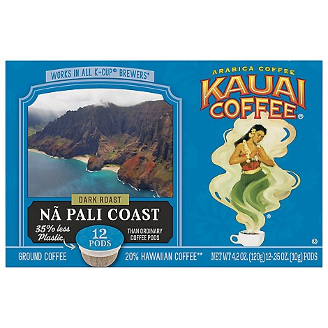Kauai Coffee Coffee Arabica K-Cups Dark Roast Na Pali Coast - 12-0.35 Oz
