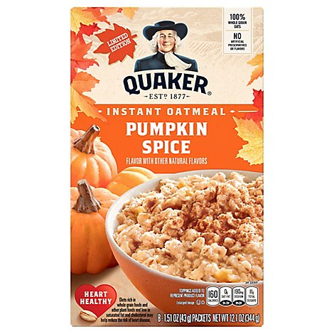 Quaker Oatmeal Instant Pumpkin Spice Limited Edition - 8-1.51 Oz