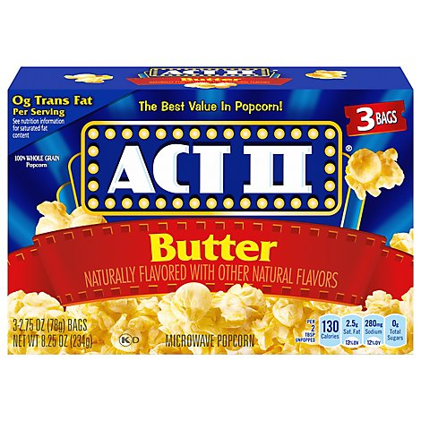 ACT II Microwave Popcorn Butter - 3-2.75 Oz