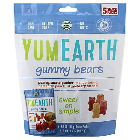 Yumearth Gummy Bear Assorted Snack Pack - 5 Count