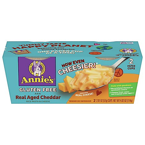 Annies Homegrown Macaroni & Cheese Gluten Free Rice Pasta & Cheddar 2 Count - 4.02 Oz