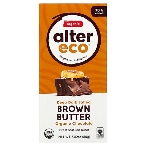 Alter Eco Chocolate Organic Dark Salted Brown Butter 70% Cocoa - 2.82 Oz