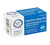 Signature Care Nighttime Sleep Aid Diphenhydramine HCl 25mg Caplet - 200 Count