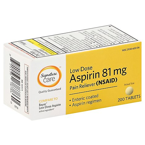 Signature Care Aspirin Pain Relief 81mg NSAID Low Dose Enteric Coated Tablet - 200 Count
