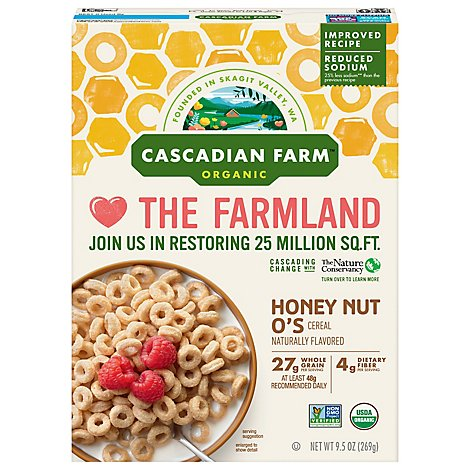 Cascadian Farm Organic Cereal Honey Nut Os - 9.5 Oz
