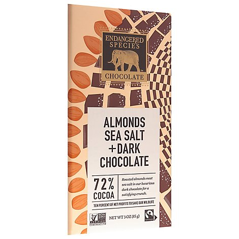 Endangered Species Chocolate Bar Dark Chocolate Seasalt Almonds - 3.0 Oz