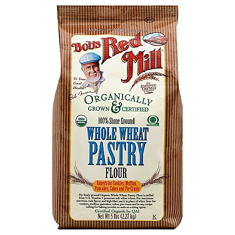 Bobs Red Mill Organic Flour Whole Wheat Pastry Stone Ground - 5 Lb