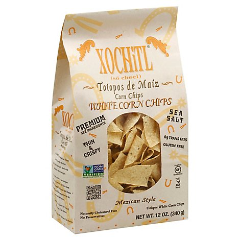 Xochitl Corn Chips Organic Mexican Style White Sea Salt - 12 Oz