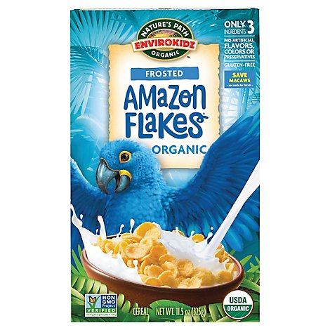 Natures Path EnviroKidz Organic Cereal Amazon Flakes Lightly Frosted - 14 Oz