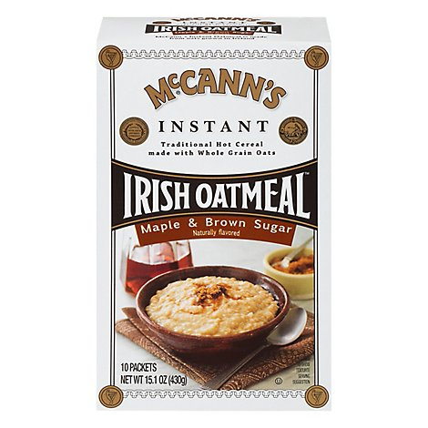 McCanns Oatmeal Irish Instant Maple & Brown Sugar 10 Count - 15.1 Oz