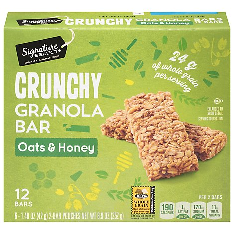 Signature SELECT Granola Bars Crunchy Oats & Honey 12 Count - 8.9 Oz