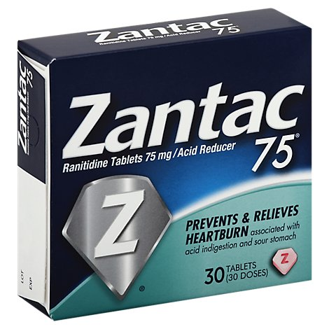 Zantac 75 Acid Reducer Regular Strength 75 mg Tablets - 30 Count