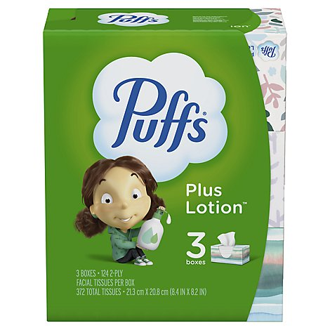 Puffs Facial Tissue Plus Lotion 2-Ply White Box - 3-124 Count